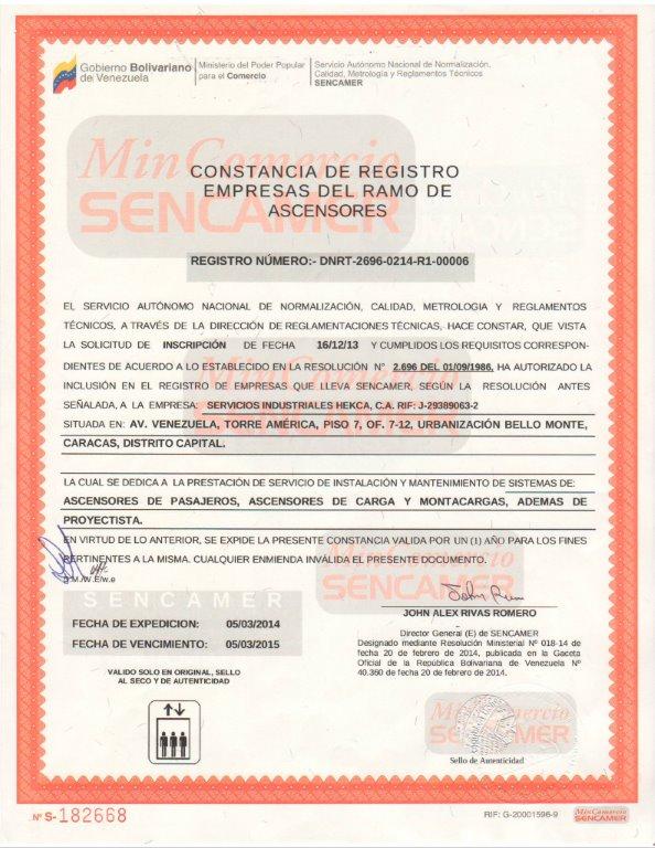 SENCAMER Constancia de Registro de Empresas del Ramo de Ascensores